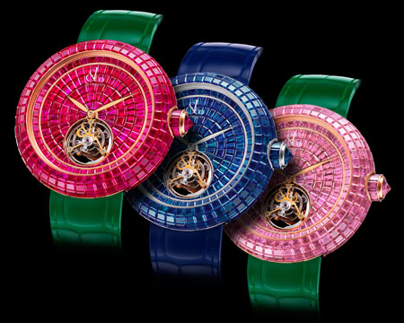 The Pink Sapphire tourbillon is also offered in blue sapphire and in ruby baguettes.