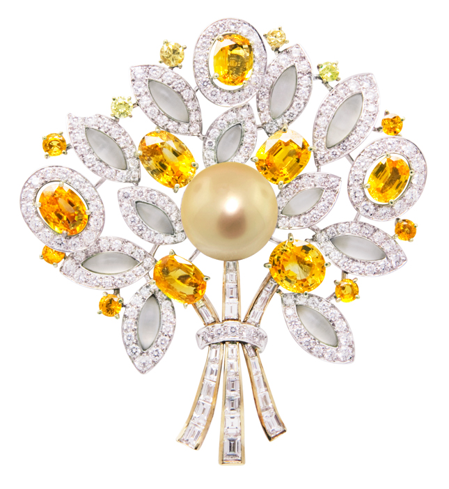 Flower arrangement with yellow sapphire, fancy yellow diamonds, white diamonds, frosted crystal and golden pearl by Ellagem NY