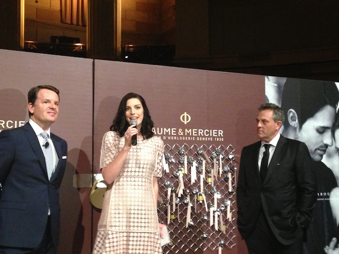 Alain Zimmermann, CEO, Baume & Mercier, Mad Men actress Jessica Pare, Rudy Chavez, US president, Baume & Mercier at Promesse launch at Gotham Hall