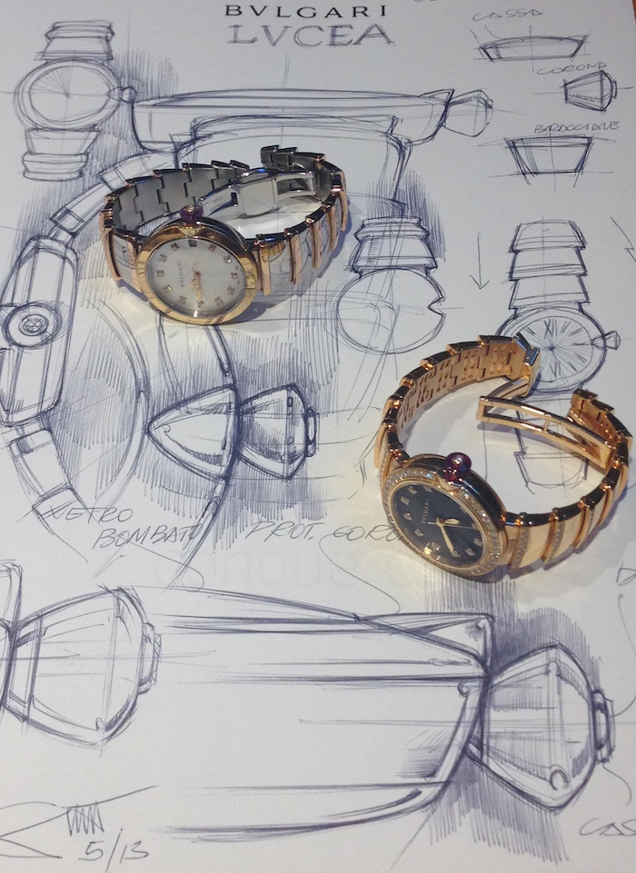 Sketches with the new Lvcea watches on them