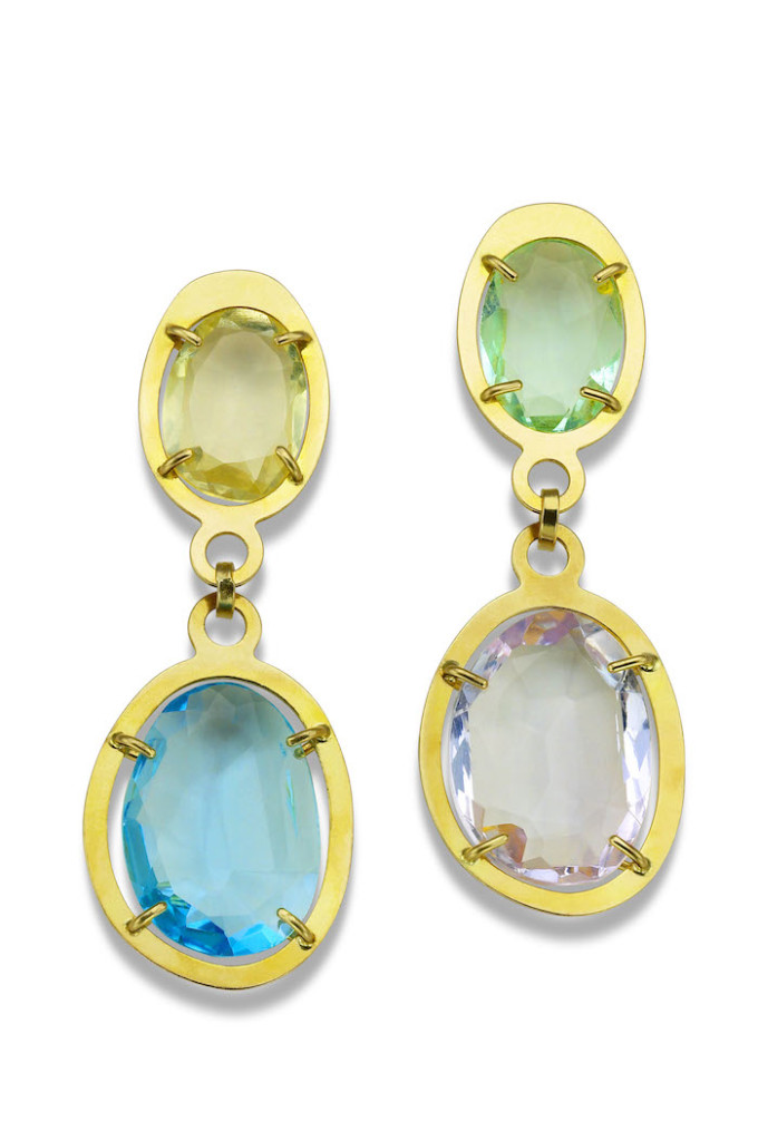 Mismatched gems are intriguing, such as these earrings by Tous.