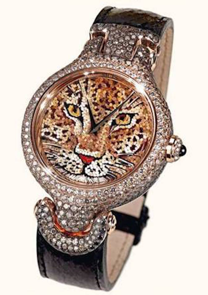 This new Sicis micro-mosaic watch depicts a leopard in all its beauty.