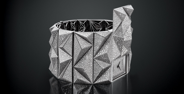 The all-diamond version of the secret Audemars Piguet Diamond Punk features 56 diamond-bedecked pyramids on the bracelet.