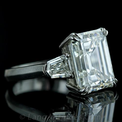 Emerald-cut diamond engagement ring.