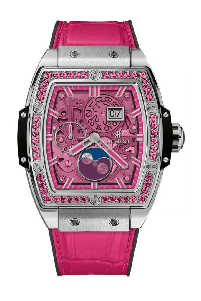 The Hublot Spirit of Big Bang Moonphase tonneau shaped watches feature specially made colored quartz crystals.