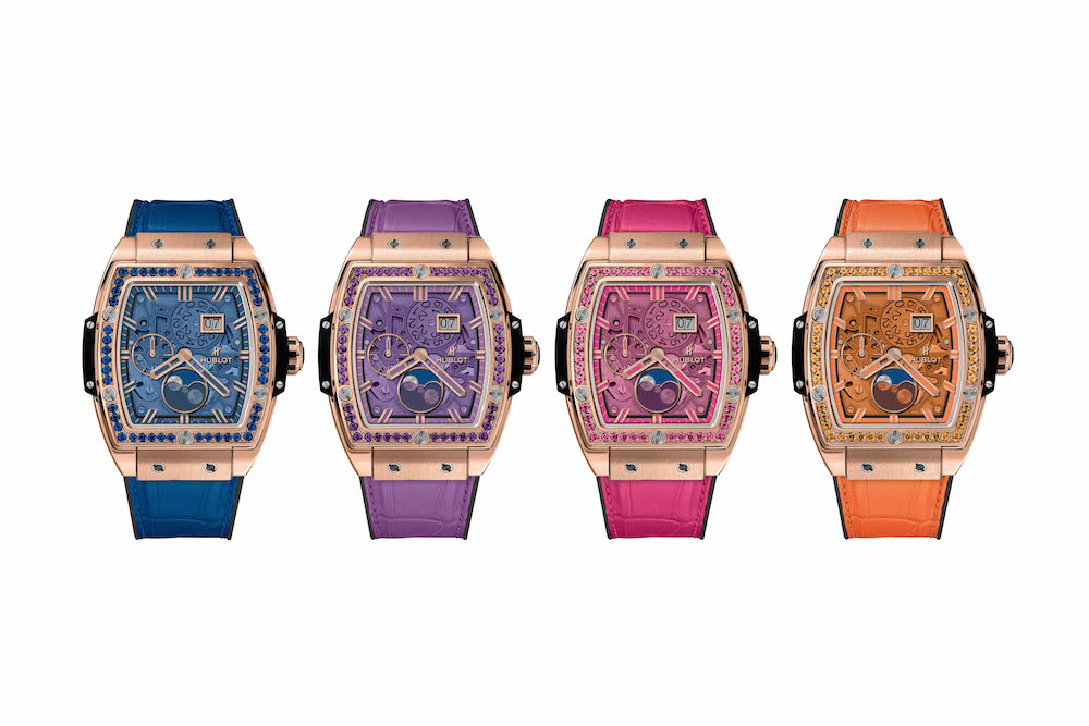 Hublot Spirit of Big Bang Moonphase is offered in pink, purple, orange and blue.