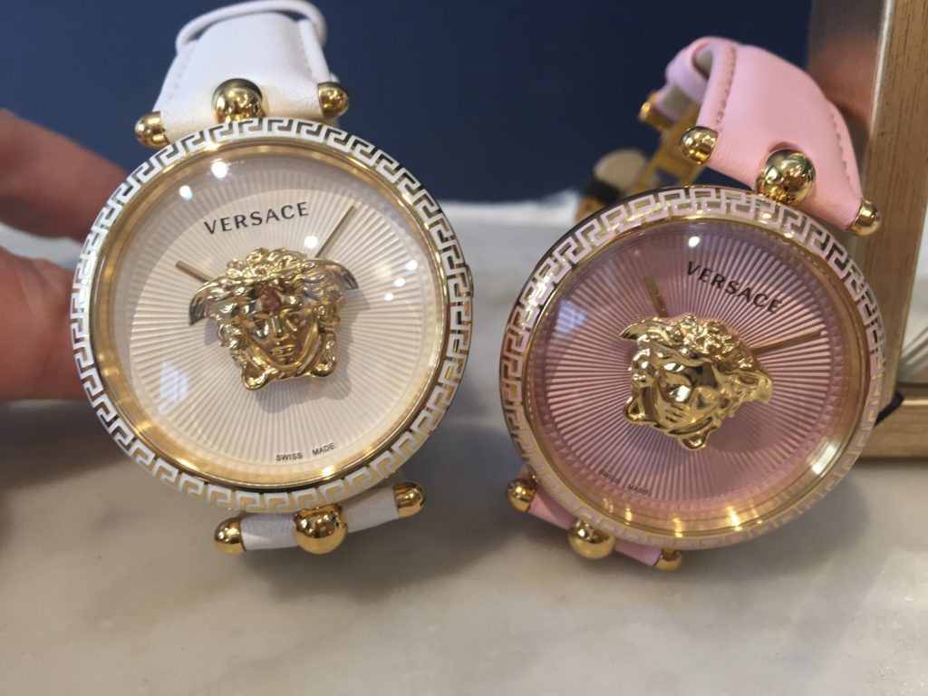 The 39mm Versace Palazzo Empire watches are offered in three colors.