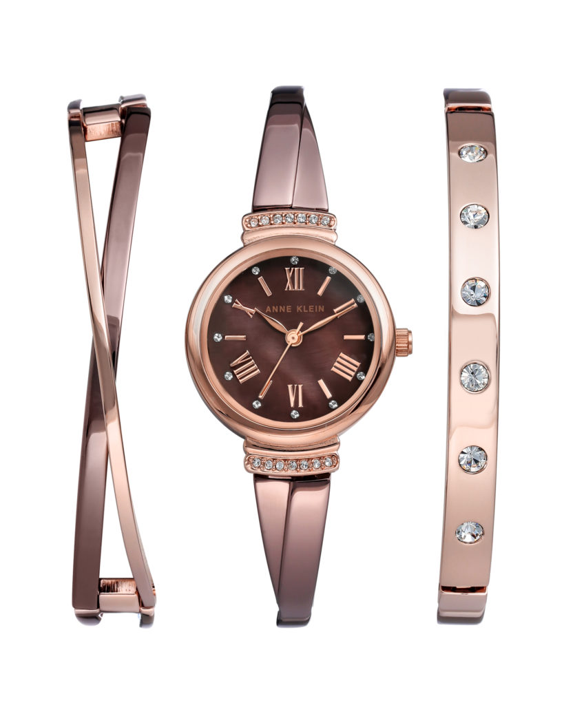 Anne Klein rose gold tone set with Swarovski crystals and mother-of-pearl dial. $175