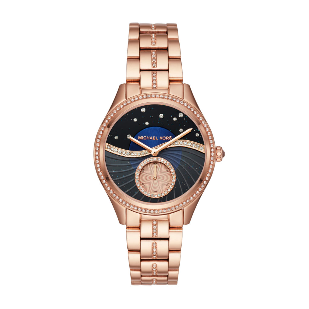 Michael Kors gold tone watch with crystals in starry sky motif. $295.
