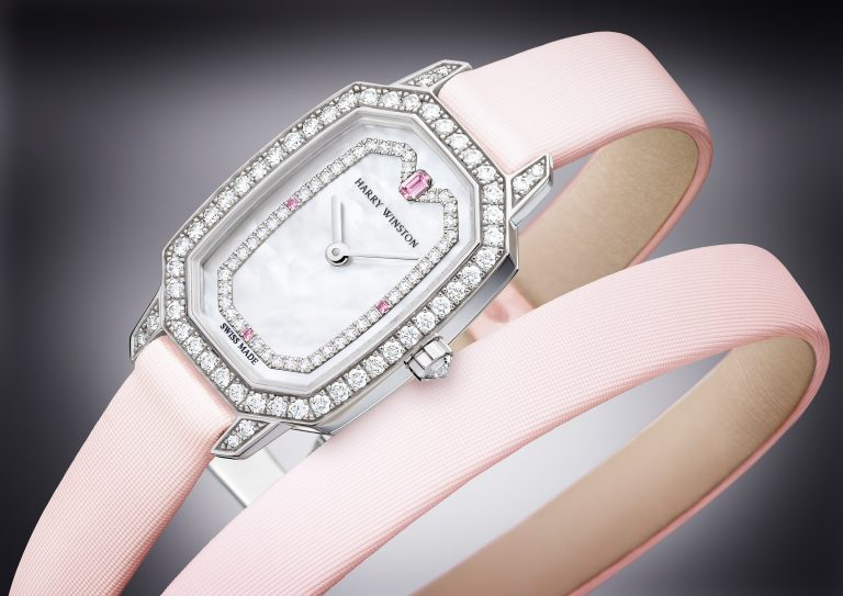 Baselworld 2018: Harry Winston Emerald Watch with diamonds, pink sapphires, pink double-wrap strap.